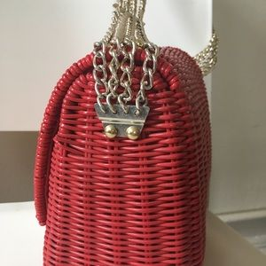 Vintage Bags - Vintage red wicker shoulder bag with gold studs